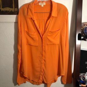 Cloth & stone button down orange top Anthropologie